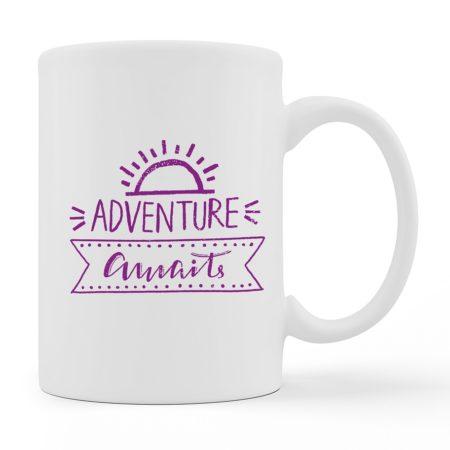 Coffee Mugs - Adventure Awaits - White Color For Sale